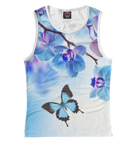 цена  Майка Print Bar Цветы и бабочка  онлайн в 2017 году