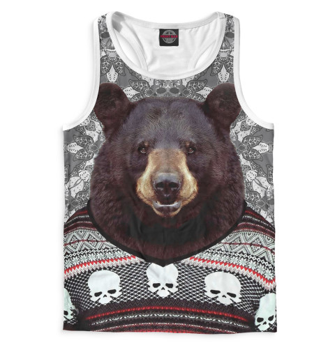 Мужская майка-борцовка Медведь в свитере