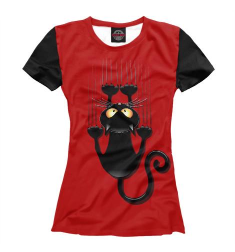 Футболка Print Bar Черный кот футболка с полной запечаткой для девочек printio кот кот