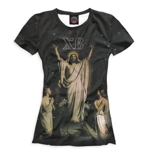 Футболка Print Bar Христос Воскрес вышивка бисером молящийся христос