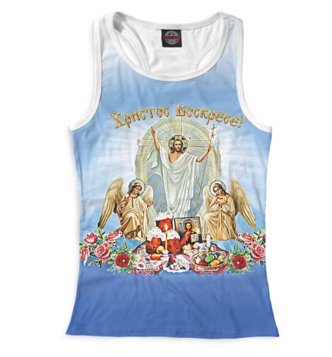 Майка борцовка Print Bar Христос Воскресе вышивка бисером молящийся христос