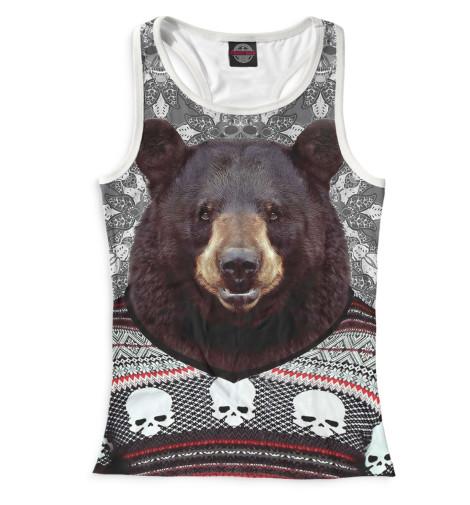 Женская майка-борцовка Медведь в свитере