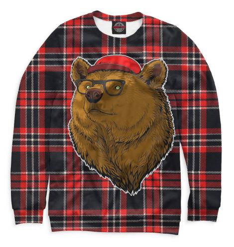Женский свитшот Медведь в очках и бейсболке Print Bar MED-150376-swi