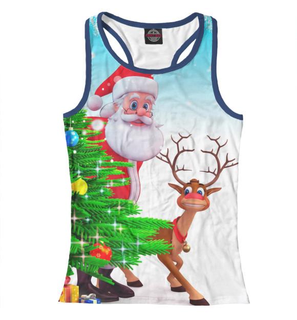 Купить Майка для девочки Дед Мороз и Олень NOV-590105-mayb-1