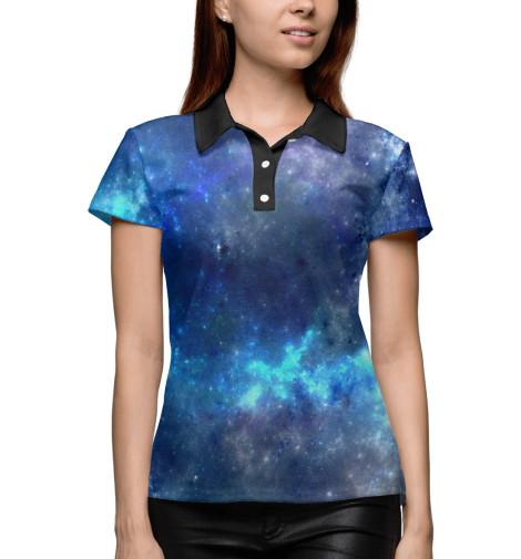 Фото - Женское поло Звёздное скопление от Print Bar белого цвета